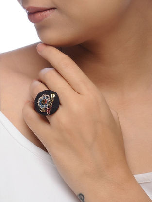 Black Embroidered Ring with Sequins