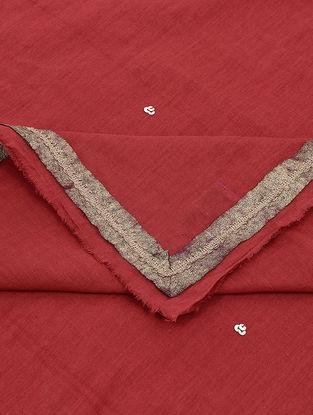 Red Khari-printed Cotton Mul Dupatta with Sequin Work