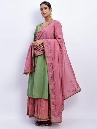 Pink Khari-printed Cotton Mul Dupatta with Nakshi Work
