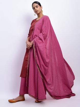 Pink Khari-printed Cotton Mul Dupatta with Sequin Work