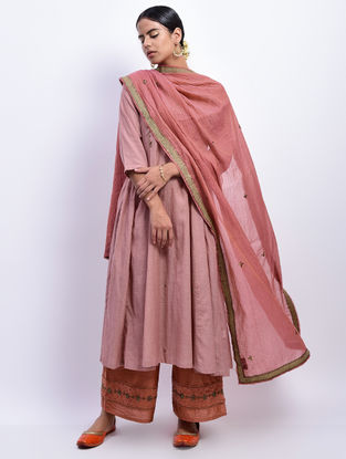 Rust Cotton Chanderi Dupatta with Nakshi and Sequin Work