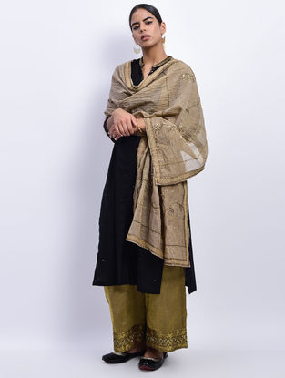 Gold Cotton Chanderi Dupatta with Nakshi and Sequin Work
