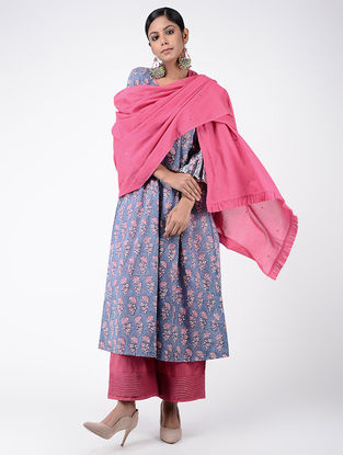 Pink Cotton Mul Dupatta with Beads and Sequin Work