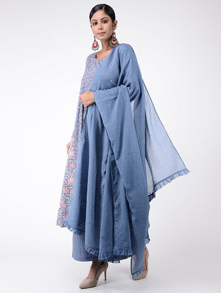 Blue Cotton Mul Dupatta with Beads and Sequin Work