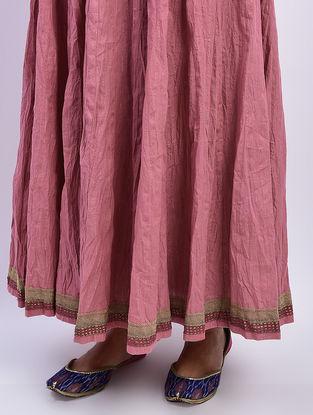 Pink Tie-up Waist Khari-printed Cotton Skirt