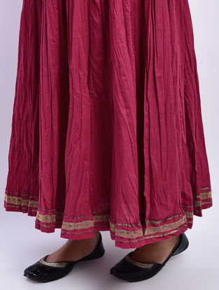 Maroon Tie-up Waist Khari-printed Cotton Skirt