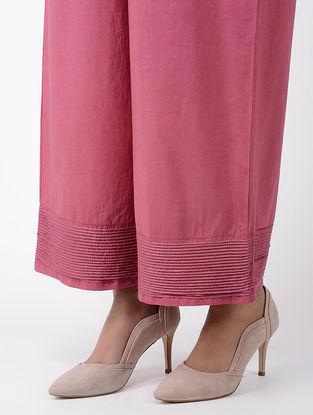 Pink Elasticated Waist Cotton Palazzos With Zari Work