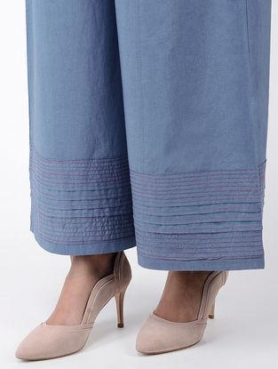 Blue Elasticated Waist Pleated Cotton Palazzos