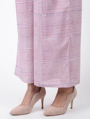 Blue-Pink Block-printed Elasticated Waist Cotton Palazzos