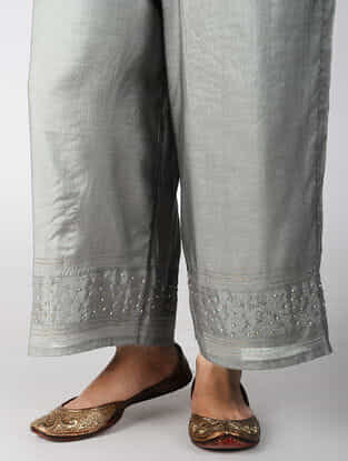 Grey Hand-embroidered Cotton Silk Pants with Zari Work