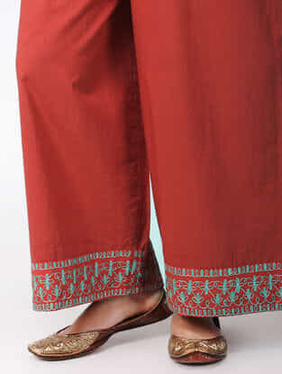 Red Zari-embroidered Cotton Pants