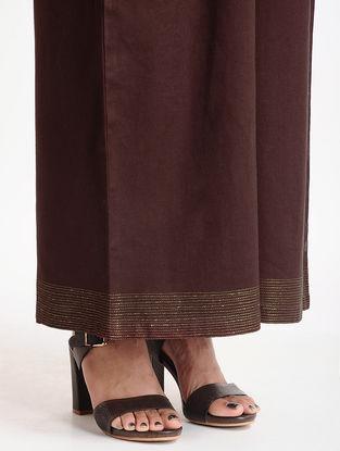 Brown Cotton Linen Pants with Zari Work