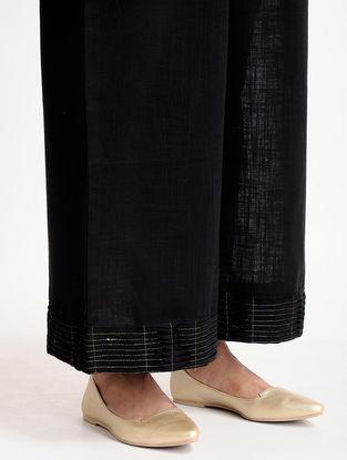 Black Cotton Linen Pants with Zari Work