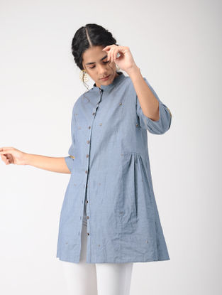 Blue Embroidered Cotton Denim Tunic with Gota Work