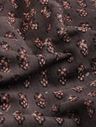 Brown-Maroon Block Printed Natural Dyed Cotton Slub Fabric