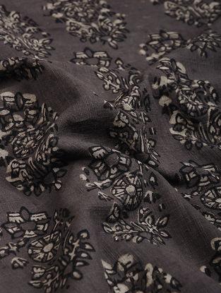 Brown-Ivory Block Printed Natural Dyed Cotton Slub Fabric