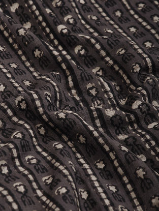 Brown-Black Block Printed Natural Dyed Cotton Slub Fabric