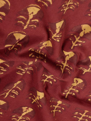Madder-Yellow Natural-dyed Block-printed Mul Fabric