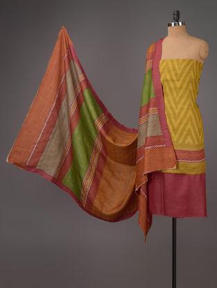 Mustard-Red-Green Tussar Silk Block Printed Kurta Fabric with Salwar and Dupatta - Set of 3