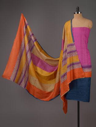 Blue-Pink-Mustard Tussar Silk Block Printed Kurta Fabric with Salwar and Dupatta - Set of 3