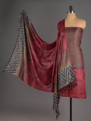 Red-Brown-Black Tussar Silk Block Printed Kurta Fabric with Salwar and Dupatta - Set of 3
