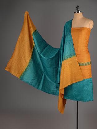 Blue-Mustard Tussar Silk Block Printed Kurta Fabric with Salwar and Dupatta - Set of 3