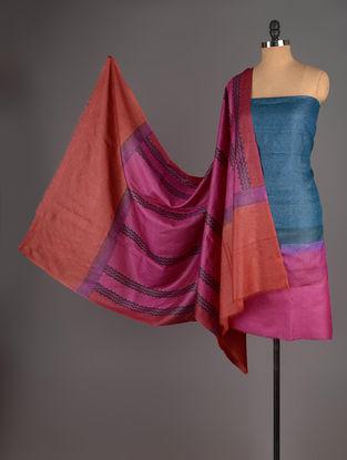 Orange-Pink-Blue Tussar Silk Block Printed Kurta Fabric with Salwar and Dupatta - Set of 3