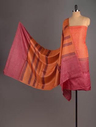 Orange-Red-Mustard Tussar Silk Block Printed Kurta Fabric with Salwar and Dupatta - Set of 3