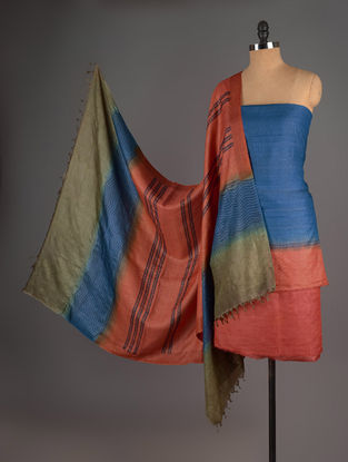 Red-Olive-Blue Tussar Silk Block Printed Kurta Fabric with Salwar and Dupatta - Set of 3
