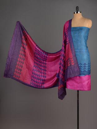 Pink-Wine-Blue Tussar Silk Block Printed Kurta Fabric with Salwar and Dupatta - Set of 3