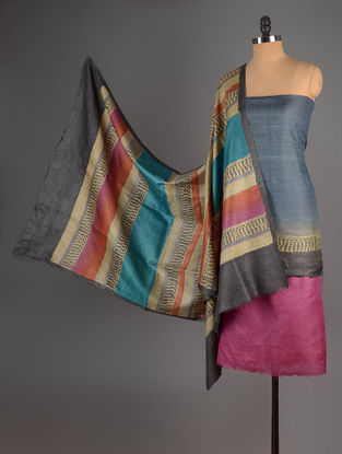 Pink-Beige-Blue Tussar Silk Block Printed Kurta Fabric with Salwar and Dupatta - Set of 3