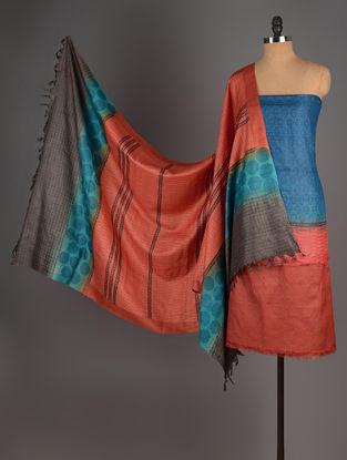 Blue-Orange-Pink Tussar Silk Block Printed Kurta Fabric with Salwar and Dupatta - Set of 3