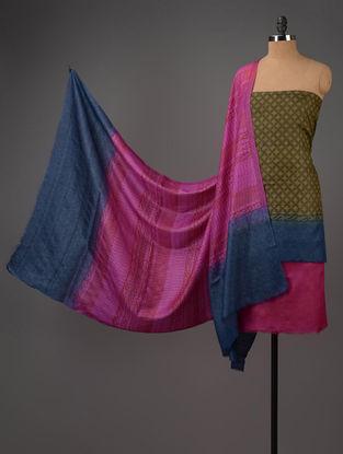 Olive-Blue-Pink Tussar Silk Block Printed Kurta Fabric with Salwar and Dupatta - Set of 3