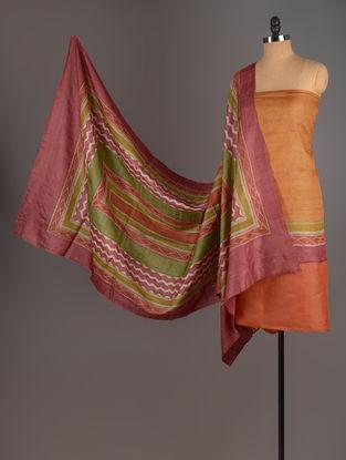 Red-Orange-Beige Tussar Silk Block Printed Kurta Fabric with Salwar and Dupatta - Set of 3
