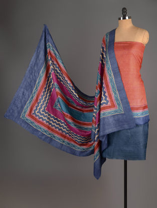 Blue-Orange Tussar Silk Block Printed Kurta Fabric with Salwar and Dupatta - Set of 3