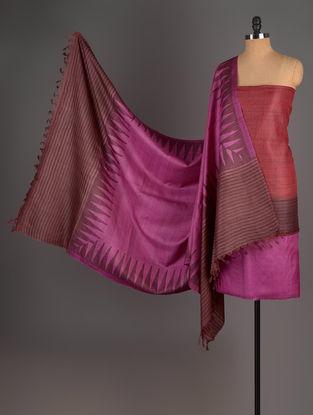 Fuschia-Red-Brown Tussar Silk Block Printed Kurta Fabric with Salwar and Dupatta - Set of 3