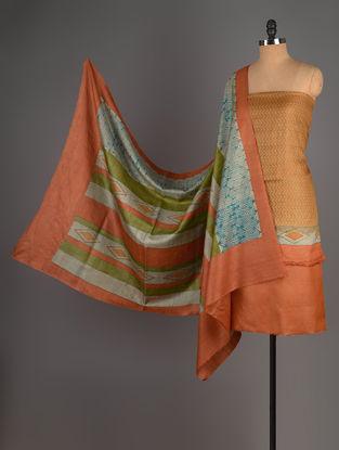 Orange-Brown Tussar Silk Block Printed Kurta Fabric with Salwar and Dupatta - Set of 3