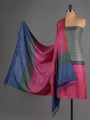 Green-Pink-Blue Tussar Silk Block Printed Kurta Fabric with Salwar and Dupatta - Set of 3