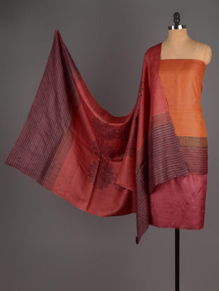 Maroon-Orange Tussar Silk Block Printed Kurta Fabric with Salwar and Dupatta - Set of 3