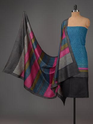 Black-Blue-Pink Tussar Silk Block Printed Kurta Fabric with Salwar and Dupatta - Set of 3
