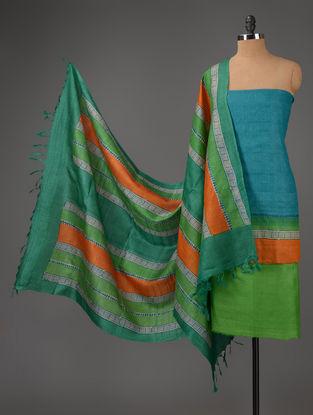 Lime-Green-Sky Blue Tussar Silk Block Printed Kurta Fabric with Salwar and Dupatta - Set of 3