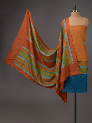 Mustard-Blue-Green Tussar Silk Block Printed Kurta Fabric with Salwar and Dupatta - Set of 3