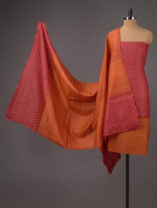 Red-Orange Tussar Silk Block Printed Kurta Fabric with Salwar and Dupatta - Set of 3