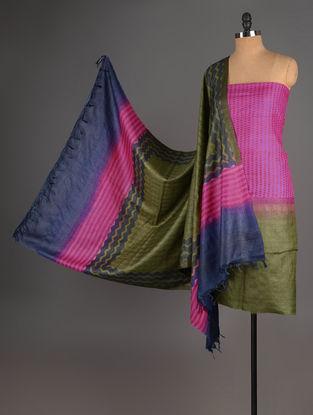 Fuschia-Olive-Blue Tussar Silk Block Printed Kurta Fabric with Salwar and Dupatta - Set of 3
