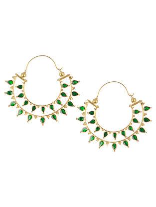 Green Enamelled Gold Tone Silver Bali