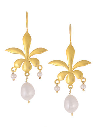 Floral Gold Tone Pearl Drop Silver Earrings
