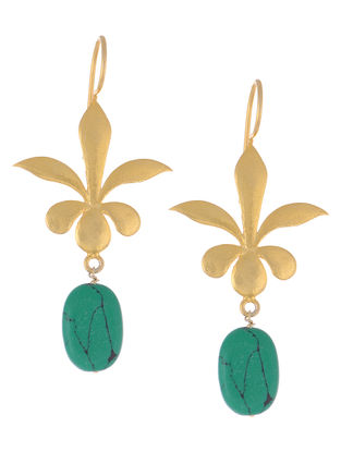 Floral Turquoise Gold Tone Silver Earrings