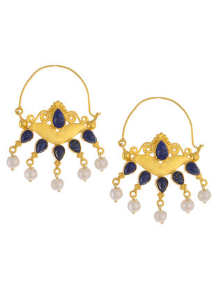 Ethno Blue Lapis Lazuli Gold Tone Pearl Drop Silver Earrings