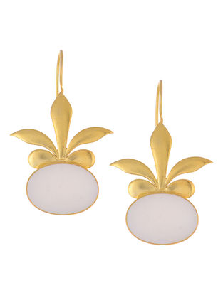 Floral Ivory Mother of Pearl Gold Tone Silver Earrings