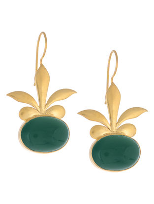 Floral Green Onyx Gold Tone Silver Earrings